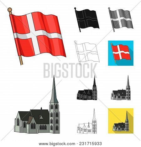Traveling In Denmark Cartoon, Black, Flat, Monochrome, Outline Icons In Set Collection For Design. D