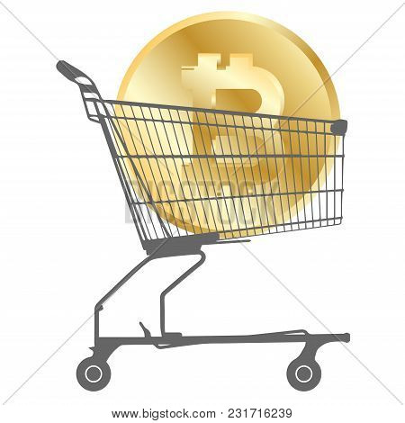 Bitcoin Coin In Supermarket Cart Isolated On White Background