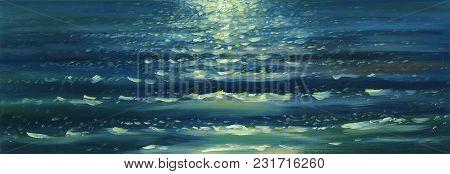 Sea Waves Texture. Ripple, Sun Glare And Sun Walk. Oil Painting Background