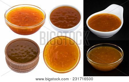 Sweet And Sour Sauce In Bowl Isolated On White Background With Clipping Path. Collection