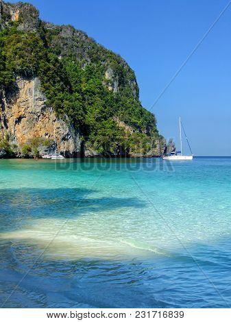 Ao Yongkasem Beach On Phi Phi Don Island, Krabi Province, Thailand. Koh Phi Phi Don Is Part Of A Mar
