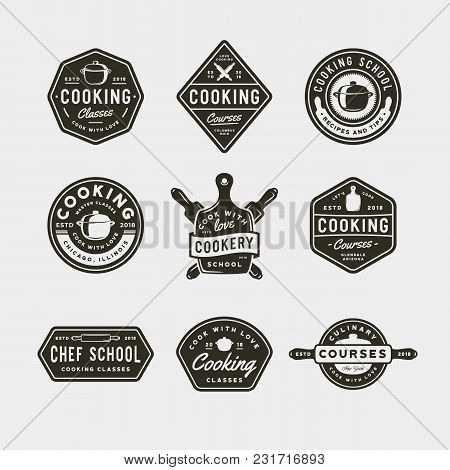 Set Of Vintage Cooking Classes Logos. Retro Styled Culinary School Emblems, Badges, Design Elements,