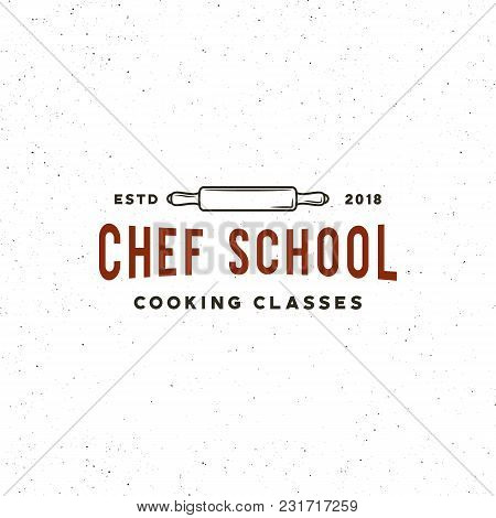 Vintage Cooking Classes Logo. Retro Styled Culinary School Emblem, Badge, Design Elements, Logotype