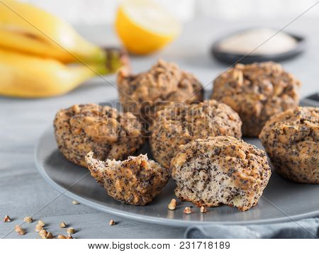 Close-up View Of Healthy Gluten-free Homemmade Banana Muffins With Buckwheat Flour. Vegan Muffins Wi