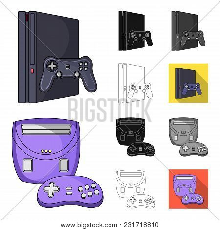 Game Console And Virtual Reality Cartoon, Black, Flat, Monochrome, Outline Icons In Set Collection F