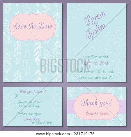 Vector Set Of Pastel Tender Wedding, Baby Shower Invitation, Congratulation Cards. Save The Date,inv