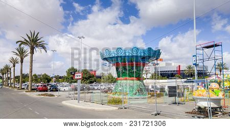 Beer-sheva, Israel - March 16, 2018: Carousel On Parking Of Ispro Planet Mega-mall