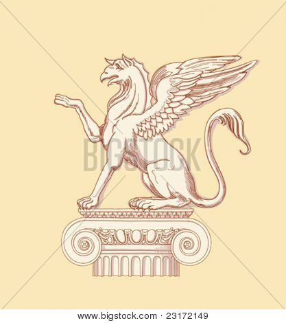 "Griffin, seated on an Ionic column - hand draw sketch based ""The Five Orders of Architecture"" is a book on architecture by Giacomo Barozzi da Vignola from 1593. Vector illustration."