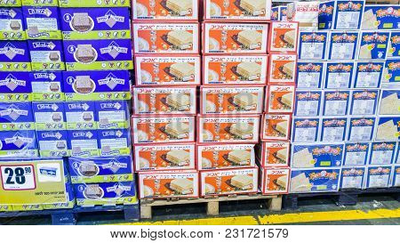 Beer-sheva, Israel - March 16, 2018: Boxes Of Matzot Kosher For Passover, For Sale At Supermarket