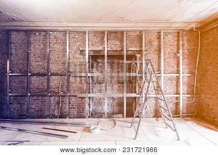 Frames For Plasterboard -metal Profiles For Drywall-  For Making Gypsum Walls On The Brick Wall In A