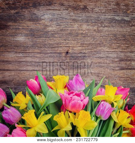 Bunch Of Colorful Double Tulips Flowers On Wooden Background With Copy Space, Retro Toned