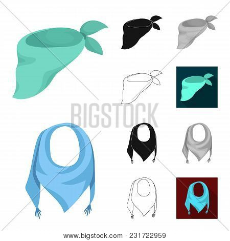 Scarf And Shawl Cartoon, Black, Flat, Monochrome, Outline Icons In Set Collection For Design.clothes