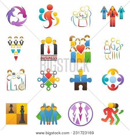 People Team Icons Vector Abstract Group Set Teamwork Union Business Badge Network Teammate Partnersh