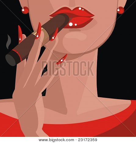 Sexy Woman In Red, Smoking A Cigar