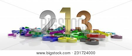 Winners Podium Concept. One, Two, Three Figures On Colorful Numbers Heap, Isolated On White Backgrou