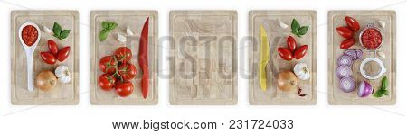 Set Of Cutting Boards With Tomatoes, Onions, Garlic, Basil And Sauce, Vegetables Food Top View Isola