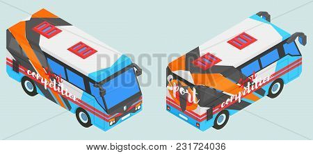 Sports Isometric Bus In Two Versions Vector Illustration