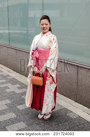 Tokyo, Japan  - March 18, 2012: Japanese Young Lady In Traditional Dress. Tokyo. Japan