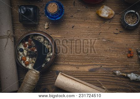 Magic Potion. Alternative Herbal Medicine. Shaman Table With Copy Space. Druidism Concept. Witch Doc