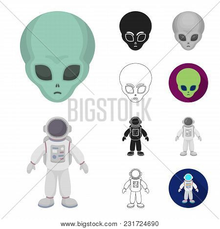 Space Technology Cartoon, Black, Flat, Monochrome, Outline Icons In Set Collection For Design.spacec