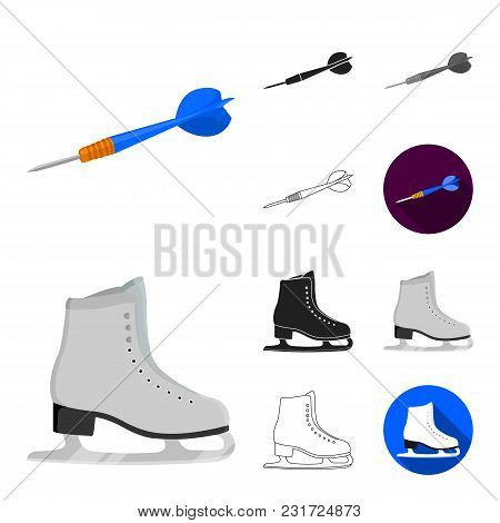 Different Kinds Of Sports Cartoon, Black, Flat, Monochrome, Outline Icons In Set Collection For Desi