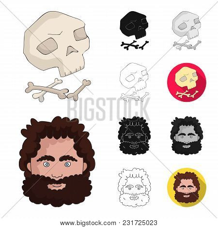 Life In The Stone Age Cartoon, Black, Flat, Monochrome, Outline Icons In Set Collection For Design.