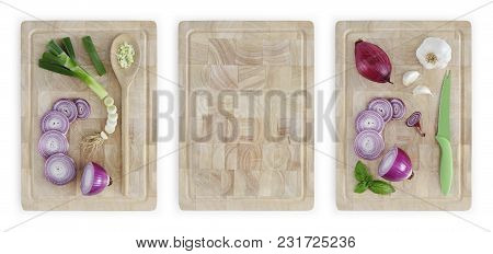 Cut Sliced And Chopped Red Onions And Green Onions With Spoon And Knife On Wooden Cutting Board Isol
