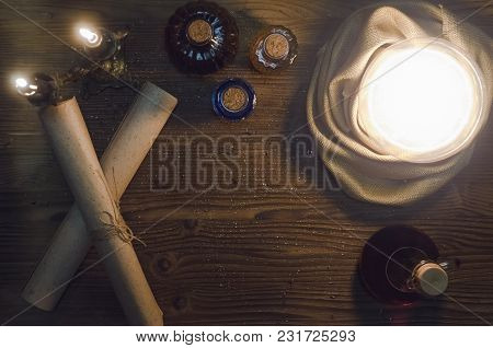 Crystal Ball On Magic On Fortune Teller Table Background With Copy Space. Seance Concept. Future Rea