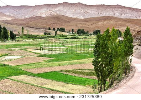Landscape View Of The Fields Of High Atlas Mountains, Morocco