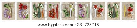 Set Of Cutting Boards With Many Vegetables Isolated On White Banner Background
