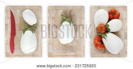 White Eggplants And Tomatoes On Wooden Cutting Board Isolated On White Banner Parmigiana Concept