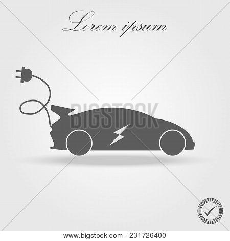 Electric Car Icon Flat. Black Pictogram On White Background. Vector Illustration Symbol And Bonus Bu