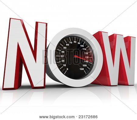 The word Now with a speedometer in the letter O representing an urgency or emergency and important need to beat a deadline poster