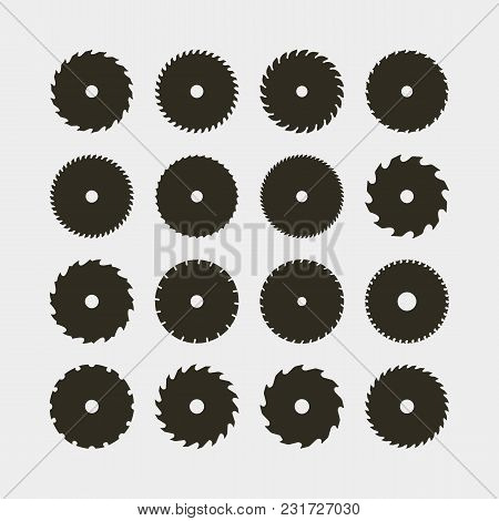 Set Of Different Black Silhouettes Of Circular Saw Blades. Sawmill Design Elements For Logotypes And