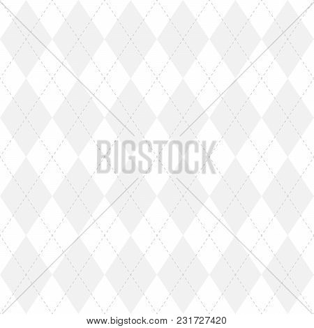 Light Grey Argyle Seamless Pattern Background.diamond Shapes With Dashed Lines. Simple Flat Vector I