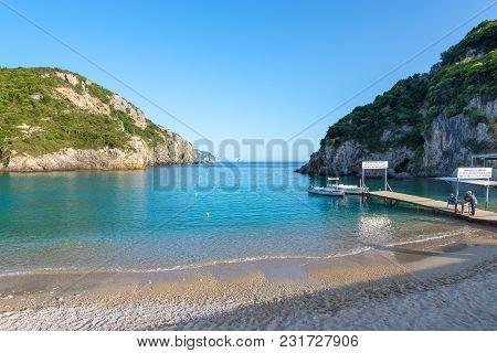 Corfu Greece - May 10, 2016: The Northwest Coast Of Corfu. The Bay Of Palaiokastritsa. Greece.