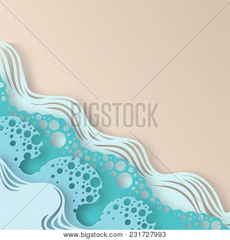 Abstract Paper Art Sea Or Ocean Water Waves And Beach. Summer Background With Seacoast. Paper Sea Wa