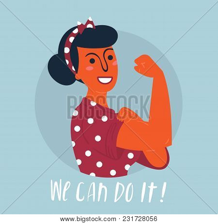 We Can Do It Poster. Strong Hindu Asian Girl. Classical American Symbol Of Female Power, Woman Right