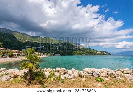 A Beautiful View Of Coast In Ipsos Village On Corfu Island. Greece.