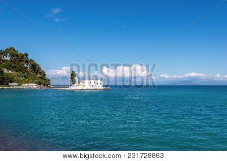 Island And Monastery Of Vlacherna And Blue Sea. Corfu Island. Greece.