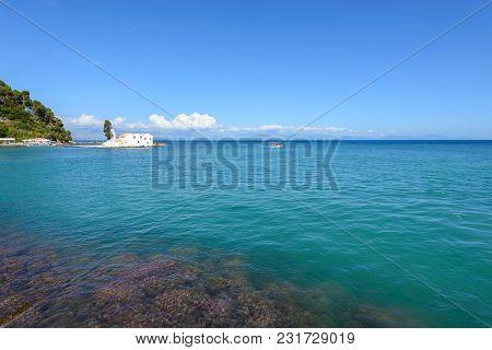 Island And Monastery Of Vlacherna And Blue Sea Corfu Island. Greece.