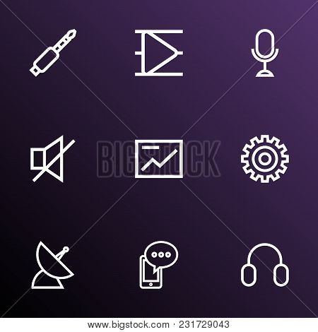 Media Icons Line Style Set With Cellphone, Sound Off, Playlist And Other Mute Elements. Isolated Vec