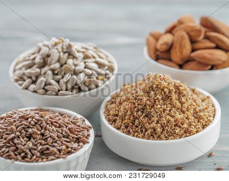 Homemade Lsa Mix In Plate And Linseed Or Flax Seeds, Sunflower Seeds And Almonds. Traditional Austra