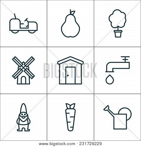 Garden Icons Set With Faucet, Pear, Windmill And Other Watering Can Elements. Isolated Vector Illust