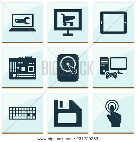 Computer Icons Set With Software, Joystick, Motherboard And Other Mainframe Elements. Isolated Vecto