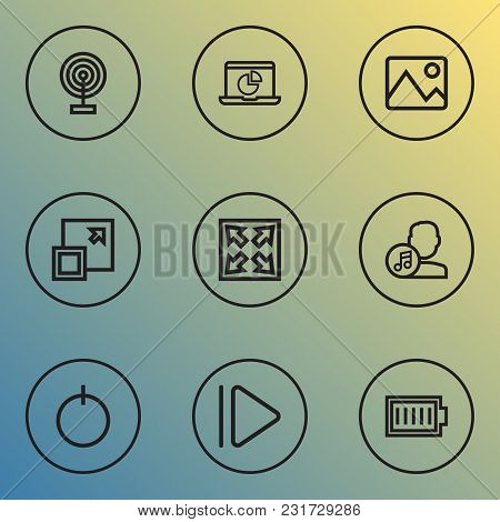Multimedia Icons Line Style Set With Widen, Artist, Upward And Other Maximize Elements. Isolated Vec