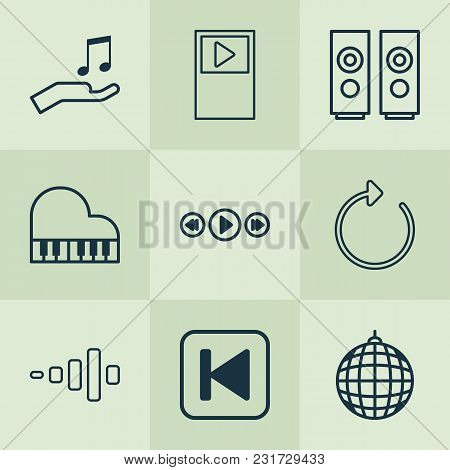 Multimedia Icons Set With Piano, Musical Device, Sound And Other Player Elements. Isolated Vector Il