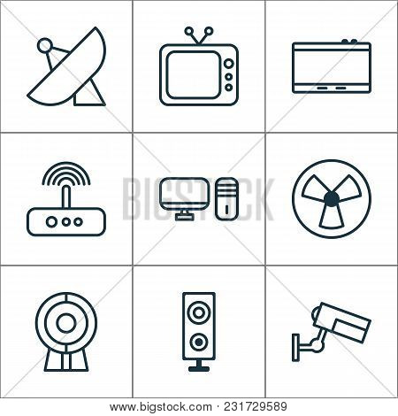 Gadget Icons Set With Tablet, Web Cam, Desktop Pc And Other Gadget Elements. Isolated Vector Illustr