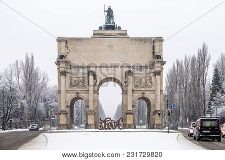 Munich , Germany - February 17 2018 : At The Victory Gate Is Standing A Sculpture Showing The Letter