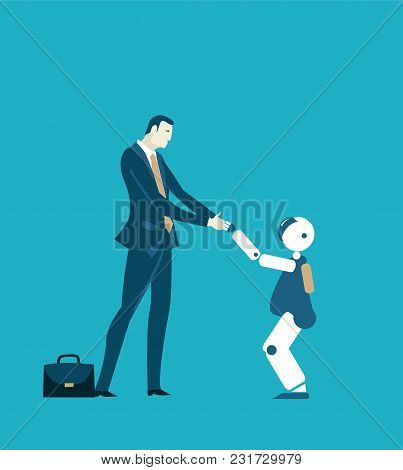 Friendly Domestic Robot Meeting The Person, Future Reality Concept. Private Help, Companion